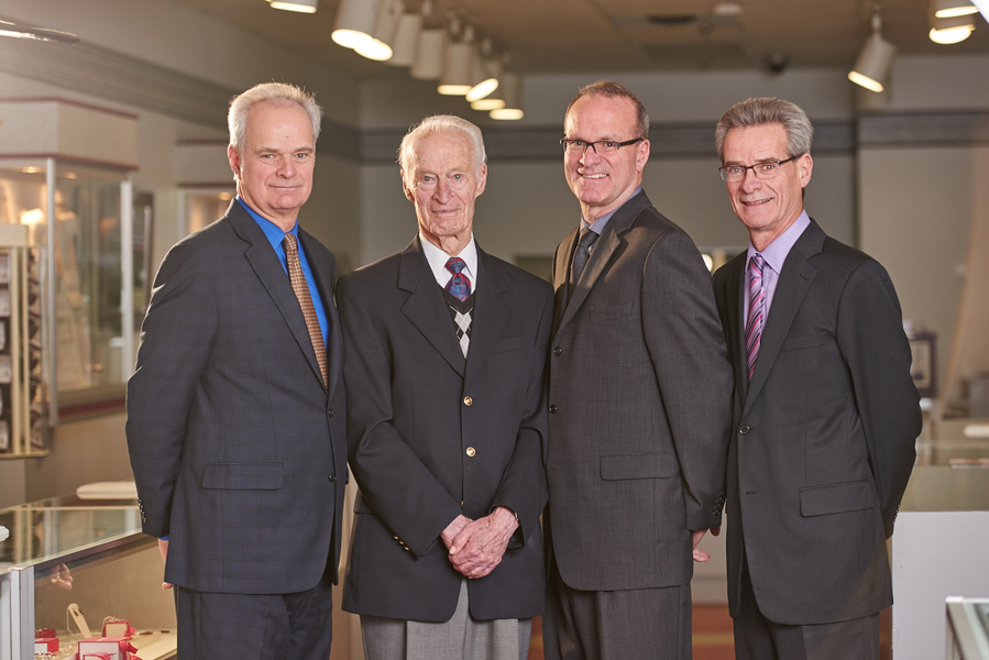 Cameron, Douglas, Geoffrey and Richard. Photo shoot for the Canadian Jeweler Magazine. Photo taken by Jessica Deeks.