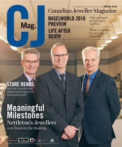 Canadian Jeweller Magazine cover photo of Nettleton's turning 100 years old.