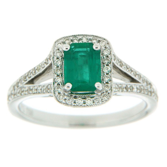 Emerald & Diamond Ring 18KT 0.73ct Emerald 68=0.26 Diamonds Stock # 153 W3158