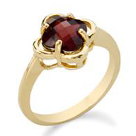 Garnet Ring Checker Board Cut 10KT 201-88113