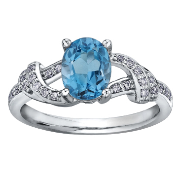 Blue Topaz & Diamond 10KT 213 2836