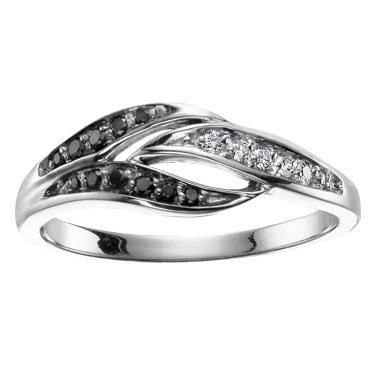 Black & white Diamond Ring 10KT Stock # 204- 2525