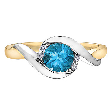 Blue Topaz 2 Tone 10KT 4 Shoulder Diamonds 213-3130