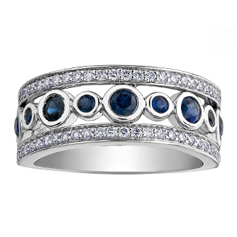 Sapphire & Diamond Band 14KT Stock # 151 W3178