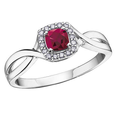Ruby & Diamond Ring 10KT Stock #208-533
