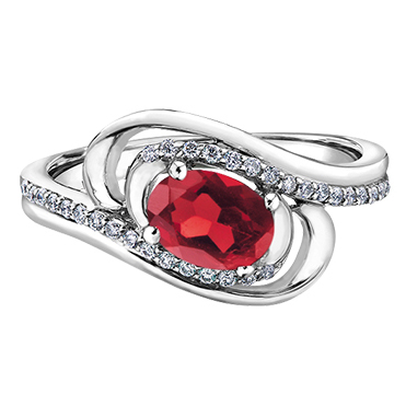 Ruby & Diamond Ring 10KT 7X5 Ruby 32=0.13cts. T.W. Stock # 153 W3152