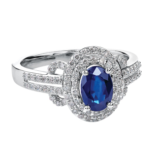 Sapphire & Diamond Ring 10KT 151 W3070