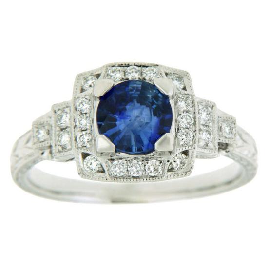 Sapphire & Diamond Ring 14KT 0.96cts. Sapphire 22=0.21ct Diamonds Stock # 151 W3159