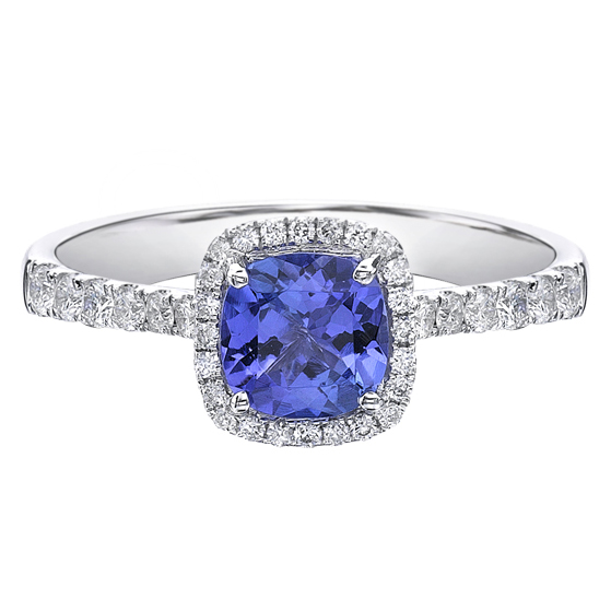 Tanzanite & Diamond Ring 14KT 6X6 Tanzanite 40=0.35cts. T.W. Diamonds Stock #157 W3165