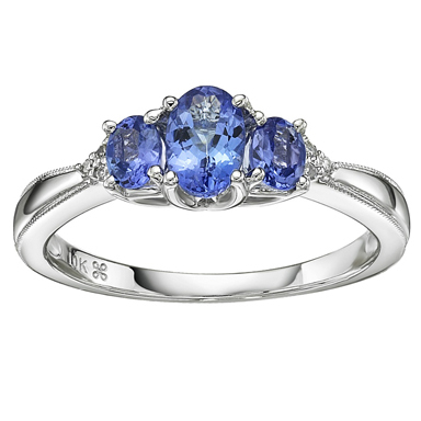 Tanzanite & Diamond Ring 10KT Stock # 157 W3164